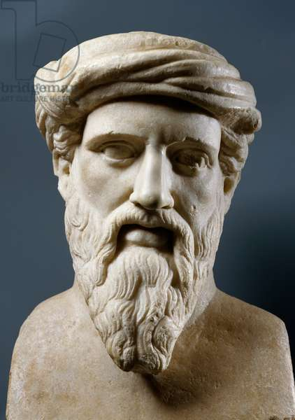 Bust of Pythagoras (Samos, 570 BCE-Metaponto, 495 BC), ancient Greek mathematician, philosopher, astronomer, scientist and politician, Roman era marble bust