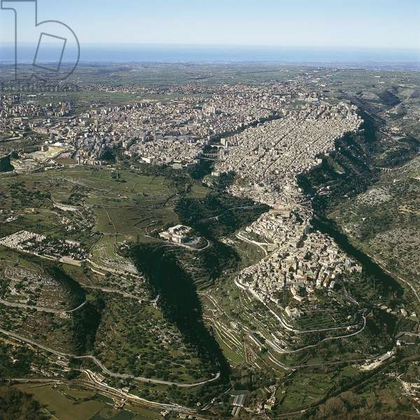 Aerial view of a cityscape, Ragusa, Province of Ragusa, Sicily, Italy (photo)