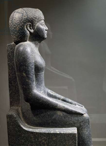 Queen Uret, side view, diorite statue. Detail. Egyptian civilization, Middle Kingdom, Dynasty XII.