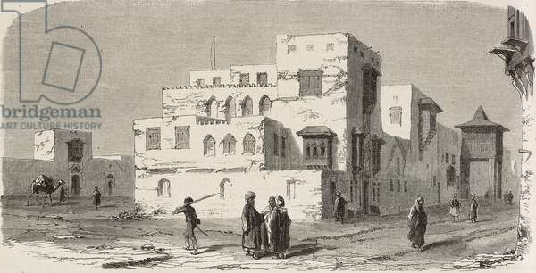 Building of French consulate, Jeddah, Saudi Arabia, illustration from magazine L'Illustration, Journal Universel, vol 33, no 834, February 19, 1859
