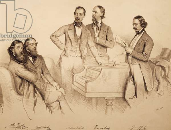 Group portrait of Viennese musicians and composer: Franz von Suppe', Carl Binder, Anton Storch, Heinrich Proch and Anton Emil Titl, litograph by Josef Kriehuber, 1852