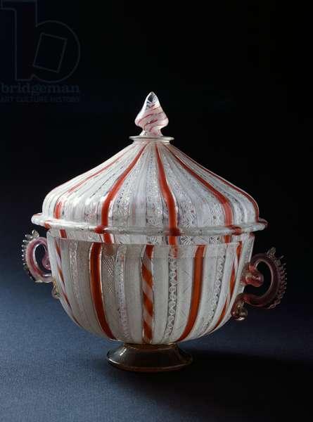 Container with cover from Vetreria of Murano, Veneto, Italy, 16th-17th century