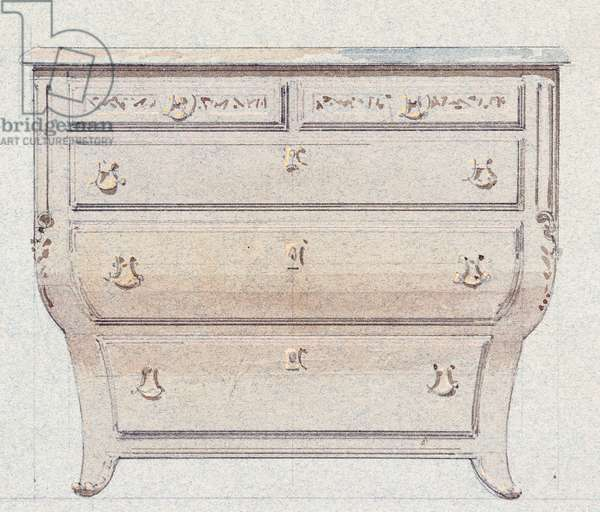 Commode for Golden Room, 1875, by Eugene-Emmanuel Viollet-Le-Duc (1814-1879), watercolor drawing, France, 19th century