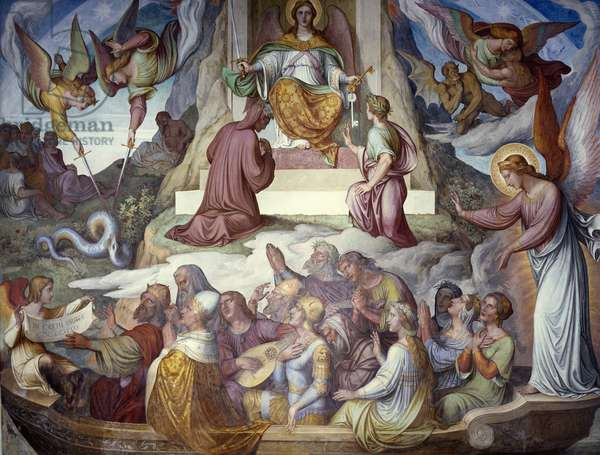 The Fighter Of Souls, fresco by Joseph Anton Koch (1768-1839) carried out in collaboration with Nazarene Movement's painters, Dante Hall, Casino Massimo, Rome, Italy, 19th century