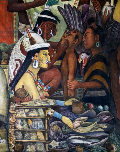 A healer and herb merchant, 1945, by Diego Rivera (1886-1957), detail from the National Palace frescoes, Mexico City. Mexico, 20th century.