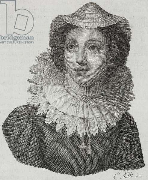 Portrait of Mary Stuart (1542-1587), Queen of Scots, engraving from L'album, giornale letterario e di belle arti, June 13, 1840, Year 7