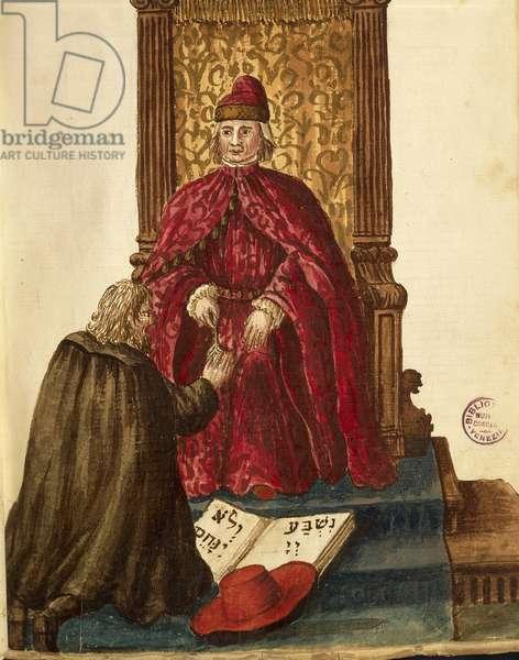Republic dignitary swearing loyalty to Venetian Doge, by Jan van Grevenbroeck or Giovanni Grevembroch (1731-1807), Gli Abiti de Veneziani, from illustrated book of costumes, watercolor