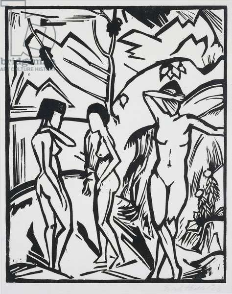 Three women by the water, 1923, by Erich Heckel (1883-1970), woodcut. Germany, 20th century.