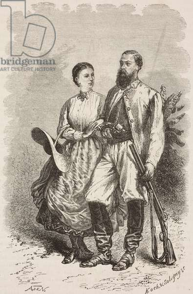 Sir Samuel White Baker and his wife Florence, drawing by Alphonse de Neuville (1835-1885), from Albert N'Yanza or Lake Albert by Samuel White Baker (1821-1893)