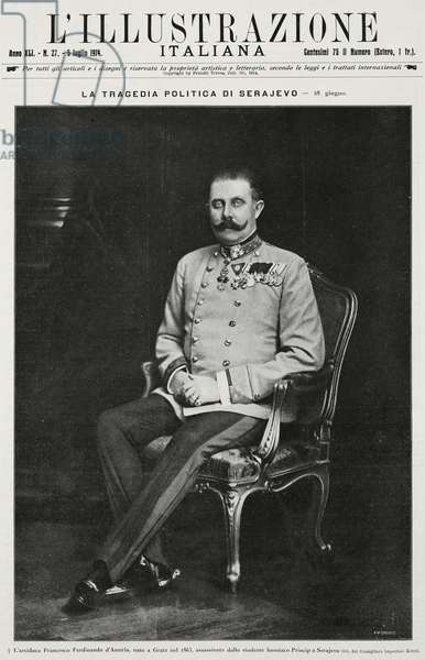 Portrait of Archduke Franz Ferdinand of Habsburg (1863-1914), from L'Illustrazione Italiana, Year XLI, No 27, July 5, 1914