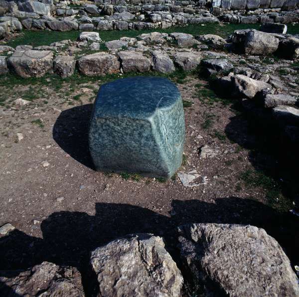 Green square stone in Lower city of Hattusa (Bogazkoy), capital of Hittite empire (Unesco World Heritage List, 1986), Bogazkale, Turkey, Hittite civilization, 2nd millennium BC