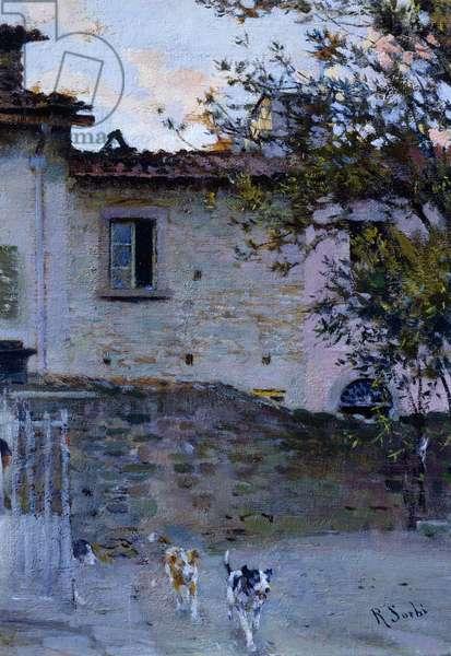 Leave, Raffaello Sorbi (1844-1931), oil on panel, 15x10 cm