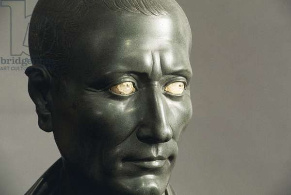 Green schist bust of Julius Caesar with marble eyes, Detail of face, Roman Civilization, 1-50 AD