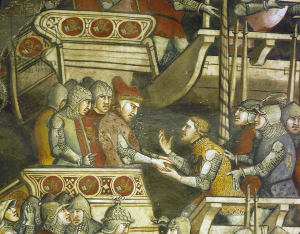 Naval Battle at Punta di San Salvatore, scene from Stories of Alexander III, 1407-1408, by Spinello Aretino (ca 1350-1410), fresco, Priory Room, Public Palace, Siena (UNESCO World Heritage List, 1995), Tuscany. Detail. Italy, 15th century.