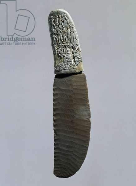 Dagger decorated with war and hunting scenes, flint blade, elephant ivory handle, recto, found at Gebel el-Arak, Egyptian Civilization, Predynastic Period, Gerzean culture, Naqada II