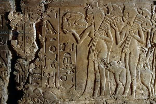 Bas-relief from the tomb of Maia, wet-nurse of Tutankhamun, Saqqara, Egypt, Egyptian Civilization, New Kingdom, Dynasty XVIII, Detail