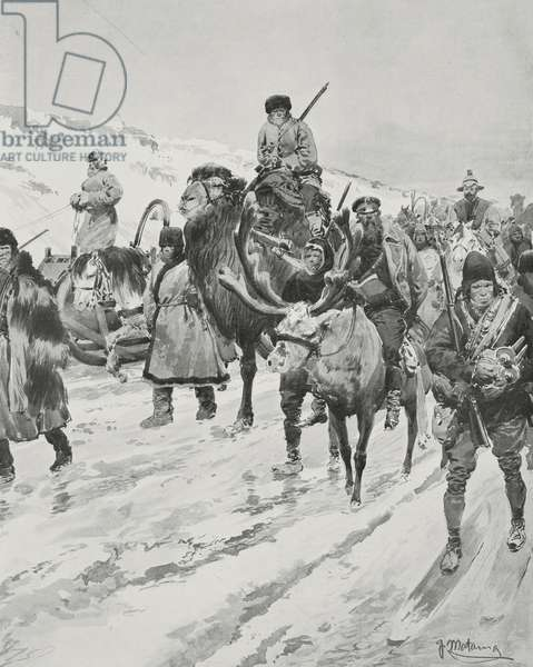 Russian soldiers at Ya-lu river, China-North Korea, Russo-Japanese war, drawing by Fortunino Matania, from L'Illustrazione Italiana, Year XXXI, No 10, March 6, 1904
