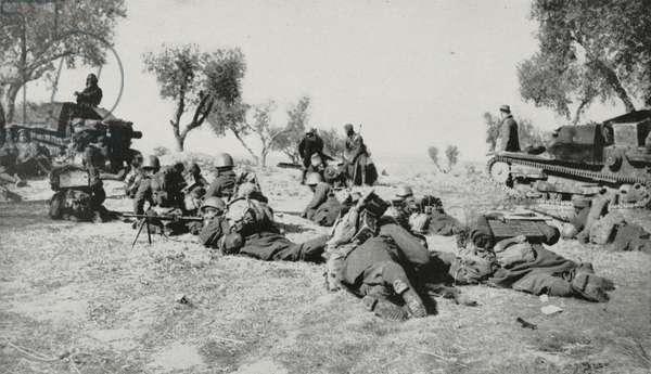 Francoist assault infantry advancing on Madrid, Spain, Spanish Civil war, from L'Illustrazione Italiana, Year LXVI, No 16, April 16, 1939