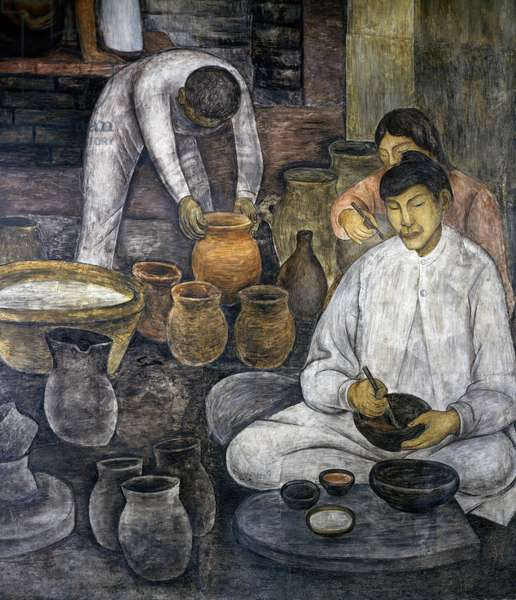 Pottery making, 1928, by Diego Rivera (1886-1957), detail from the Ministry of Education frescoes (1923-1928), Mexico City. Mexico, 20th century.