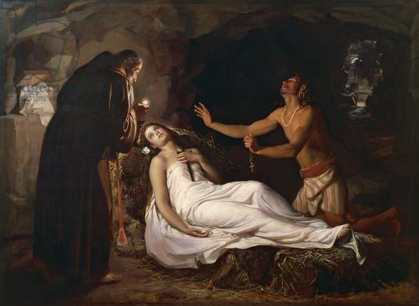 Death of Atala, by Luis Josue Monroy (1845-1918) based on novel Atala by Francois Auguste Rene de Chateaubriand (1768-1848)