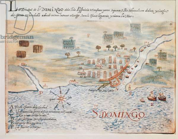 The city of Santo Domingo with the Columbus house, Hispaniola Island, watercolor, 16th century