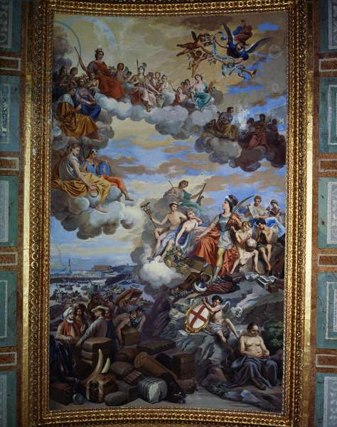 Ligurian trade, fresco by Giuseppe Isola (1808-1893) on the ceiling of Hall of the Great Council of the Doge's Palace in Genoa. Italy, 19th century