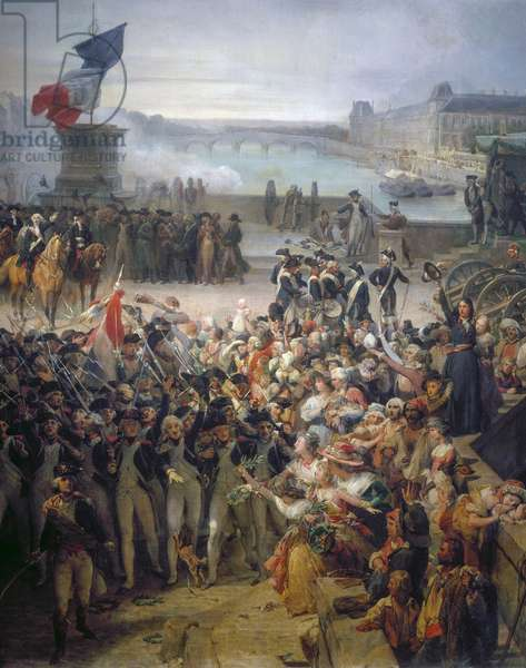 Paris National Guard gathered on Pont Neuf before leaving to join up with army in September 1792, 1834, painting by Leon Cogniet (1794-1880), oil on canvas, 189x76 cm, Detail