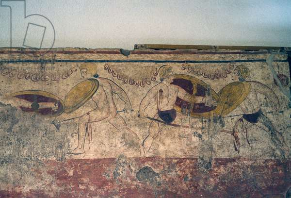Fights in honor of deceased, fresco from Paestum, Campania, Italy, Ancient Greek civilization, Magna Graecia, 5th century BC (photo)