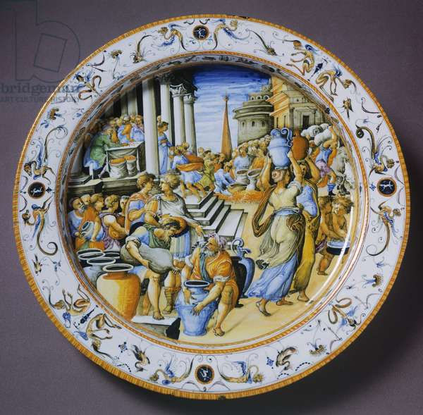 Plate with subject inspired by Fire in Borgo by Raffaello and grotesque decorated edge, ceramic, Fontana workshop, Urbino, Marche, Italy, 16th century