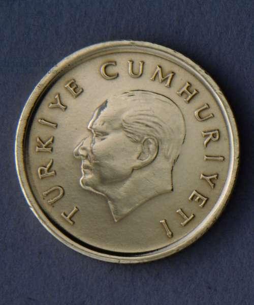 50 lira coin, 1990, Obverse, Portrait of Mustafa Kemal Ataturk (1881-1938), Turkey, 20th century