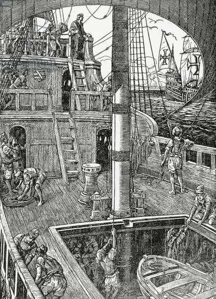 Aftercastle of Portuguese caravel of 15th-16th century, illustration by Alfredo Roque-Gameiro (1864-1935), for Historia da Colonizacao Portuguesa do Brasil, published by Litografia Nacional, 1921, Porto