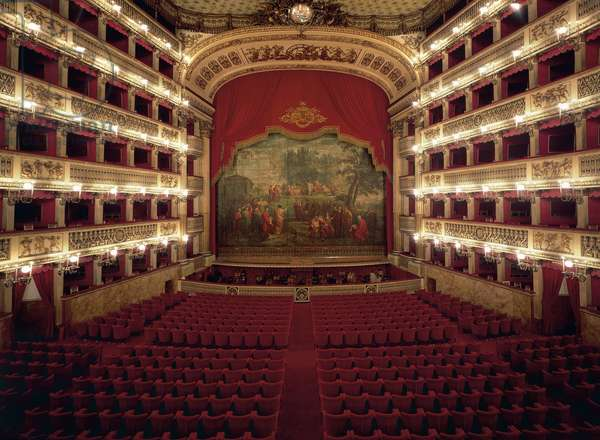 The interior of Real Teatro di San Carlo (1737), Naples, Campania, Italy