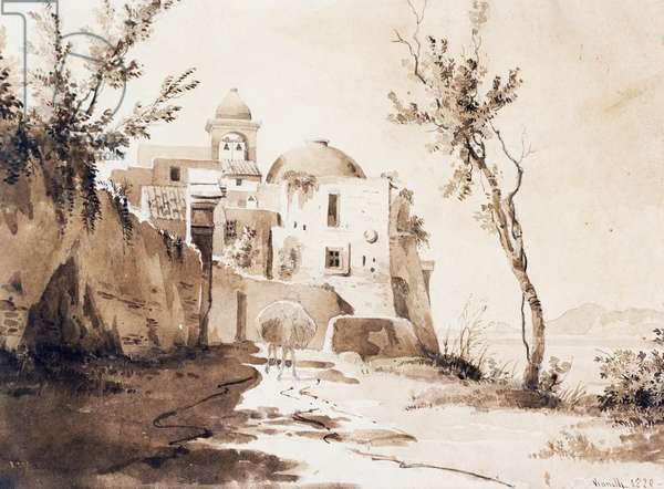 Church of San Francesco in Pozzuoli, 1820 (watercolour)