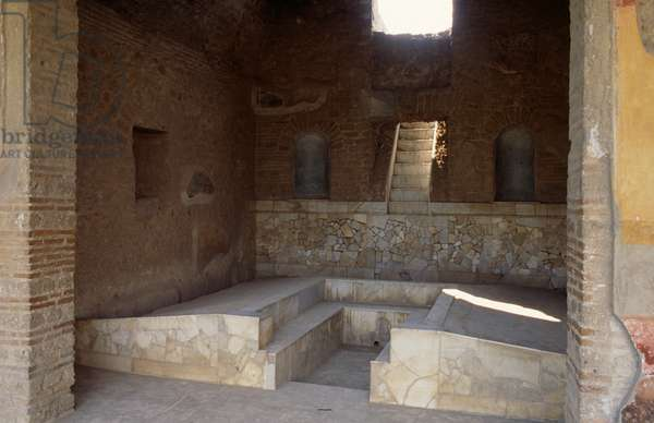 Triclinium of the House of Julia Felix, Pompeii (UNESCO World Heritage List, 1997), Campania, Italy. Roman civilization, 1st century AD