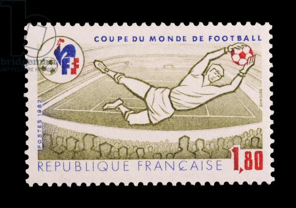 Postage stamp commemorating 1982 FIFA World Cup, France, 20th century