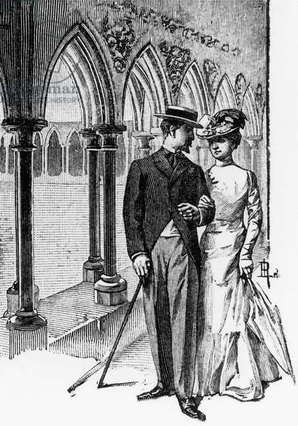 Andre Mariolle and Michele de Burne, illustration from Our heart (Notre coeur) by Guy de Maupassant (1850-1893), French edition, 19th century