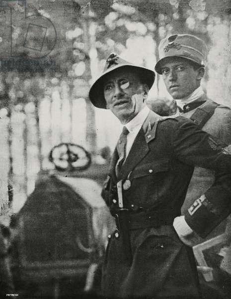 Gabriele D'Annunzio in Cantrida for meeting with General Caviglia after Treaty of Rapallo, Italy, from l'Illustrazione Italiana, Year XVLII, No 48, November 28, 1920