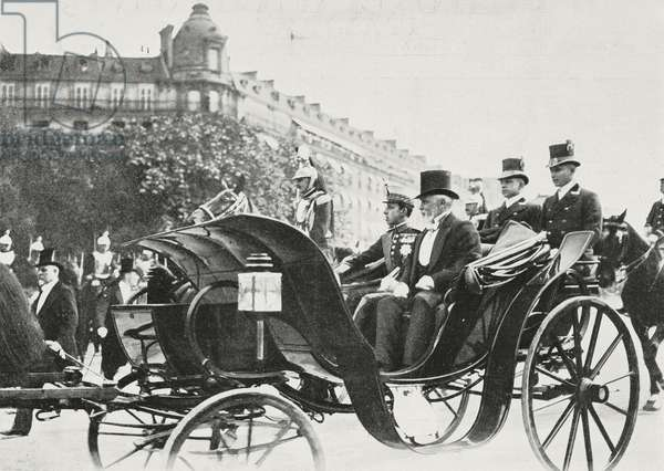 Alfonso XIII, King of Spain, arriving in Paris, France, photograph by Chusseau-Flaviens, from L'Illustrazione Italiana, Year XXXII, No 24, June 11, 1905