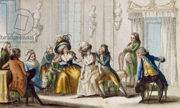 Tuscan game of seggo e seggo bene, by A Bicci, colour engraving, Italy, 18th century