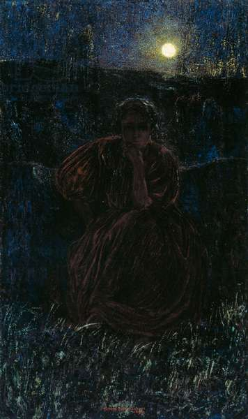 Woman in the moonlight, detail of the Symphony of the Moon, 1899, polyptych by Plinio Nomellini (1866-1943), oil on canvas
