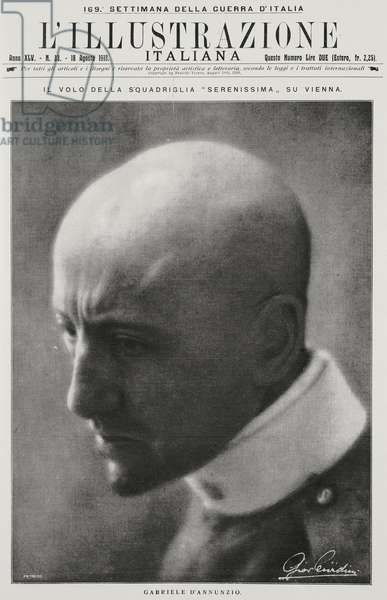 Portrait of Italian poet and patriot Gabriele D'Annunzio (1863-1938), from l'Illustrazione Italiana, Year XLV, No 33, August 18, 1918