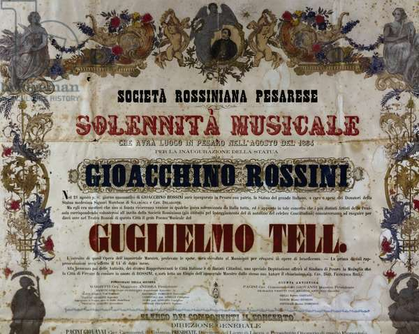 Playbill of the William Tell, 1884, opera by Gioachino Rossini (1792-1868)