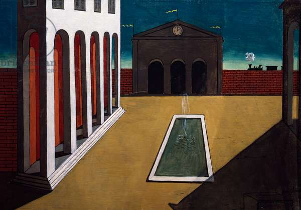 Autumn afternoon, 1914, by Giorgio de Chirico (1888-1978), oil on canvas, 48x69 cm. Italy, 20th century.