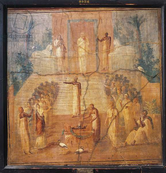Fresco depicting Isis worship, from Ercolano, Naples province, Italy