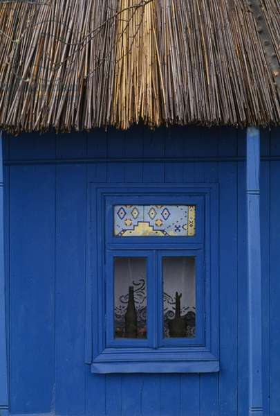 Window of traditional house with thatched roof, Danube Delta, Romania