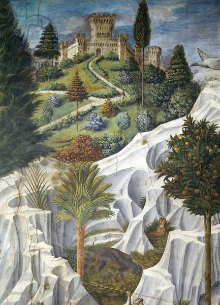 Landscape with a castle, detail from the Procession of the Magi King's to Bethlehem, 1459, by Benozzo Gozzoli (1420-1497), fresco, tempera and oil on wall. Chapel of Palazzo Medici Riccardi, Florence.