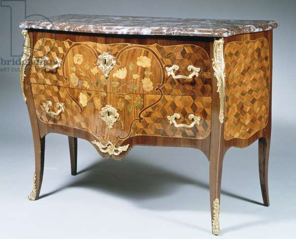 Louis XV style chest of drawers with kingwood, Madagascar rosewood and amaranth inlays, France, 18th century