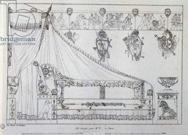 Bed made for Mr T from Paris, 1801, drawing from Recueil de decorations Interieures by Charles Percier (1764-1838) and Pierre Francois Leonard Fontaine (1762-1853), France,19th century