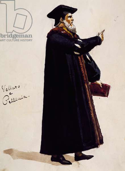 Costume sketch for Wagner, in opera Mephistopheles, by Arrigo Boito (1842-1918)