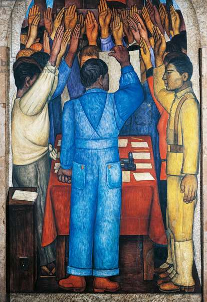The protest, by Diego Rivera (1886-1957), detail from the Ministry of Education frescoes (1923-1928), Mexico City. Mexico, 20th century.